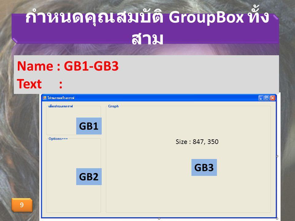 กำหนดคุณสมบัติ GroupBox ทั้ง สาม 9 9 Name : GB1-GB3 Text : GB1 GB2 GB3 Size : 847, 350