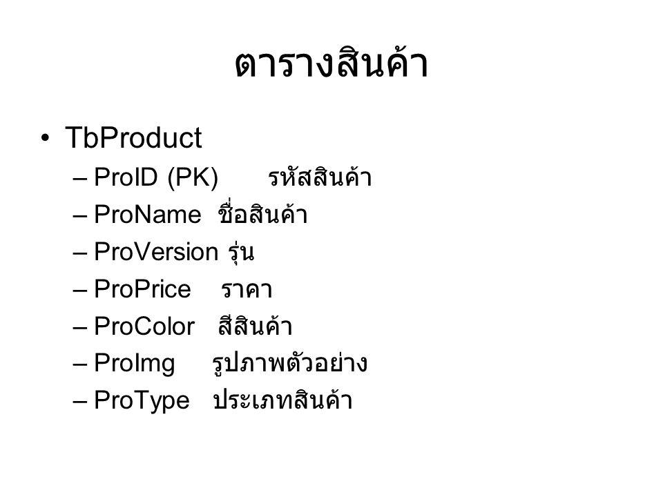ตารางสินค้า TbProduct –ProID (PK) รหัสสินค้า –ProName ชื่อสินค้า –ProVersion รุ่น –ProPrice ราคา –ProColor สีสินค้า –ProImg รูปภาพตัวอย่าง –ProType ประเภทสินค้า