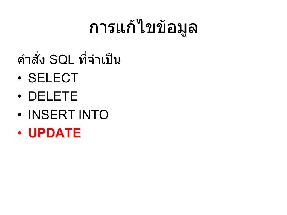 การแก้ไขข้อมูล คำสั่ง SQL ที่จำเป็น SELECT DELETE INSERT INTO UPDATEUPDATE
