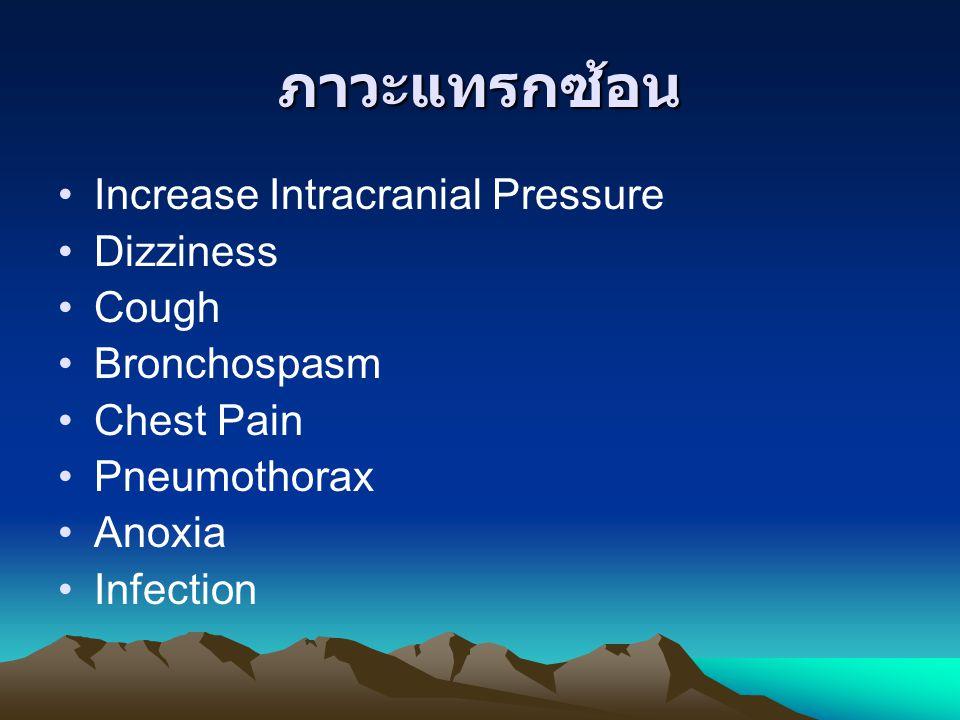 ภาวะแทรกซ้อน Increase Intracranial Pressure Dizziness Cough Bronchospasm Chest Pain Pneumothorax Anoxia Infection