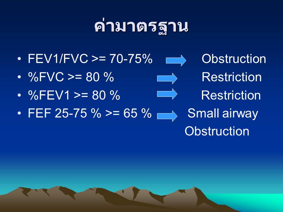 ค่ามาตรฐาน FEV1/FVC >= 70-75% Obstruction %FVC >= 80 % Restriction %FEV1 >= 80 % Restriction FEF 25-75 % >= 65 % Small airway Obstruction
