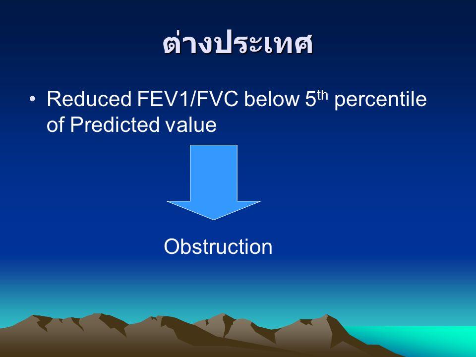 ต่างประเทศ Reduced FEV1/FVC below 5 th percentile of Predicted value Obstruction