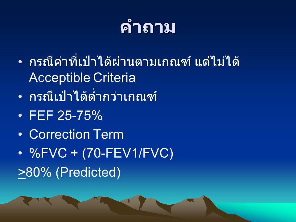 คำถาม กรณีค่าที่เป่าได้ผ่านตามเกณฑ์ แต่ไม่ได้ Acceptible Criteria กรณีเป่าได้ต่ำกว่าเกณฑ์ FEF 25-75% Correction Term %FVC + (70-FEV1/FVC) >80% (Predic