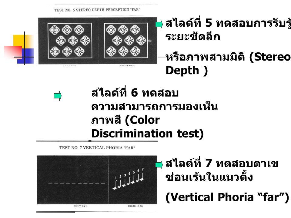 สไลด์ที่ 5 ทดสอบการรับรู้ ระยะชัดลึก หรือภาพสามมิติ (Stereo Depth ) สไลด์ที่ 6 ทดสอบ ความสามารถการมองเห็น ภาพสี (Color Discrimination test) สไลด์ที่ 7