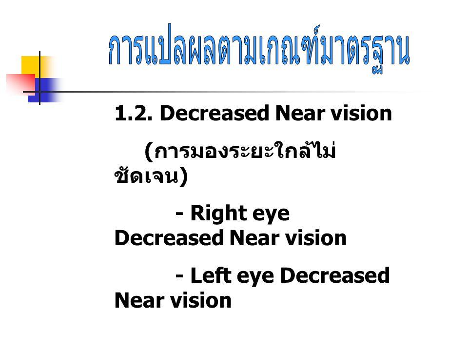 1.2. Decreased Near vision ( การมองระยะใกล้ไม่ ชัดเจน ) - Right eye Decreased Near vision - Left eye Decreased Near vision