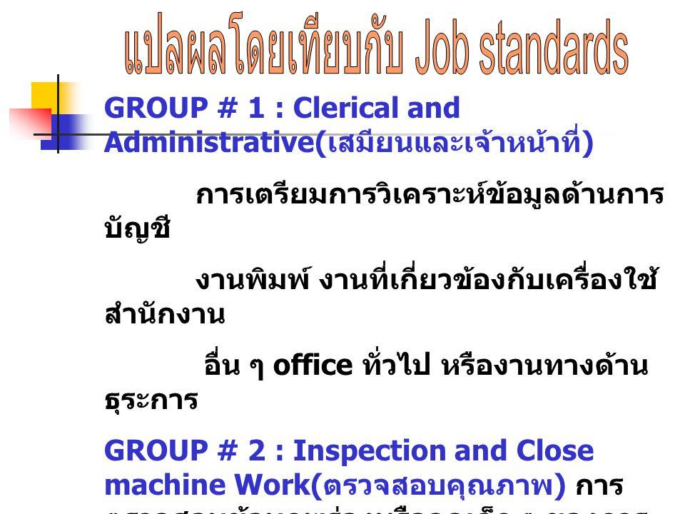 GROUP # 1 : Clerical and Administrative( เสมียนและเจ้าหน้าที่ ) การเตรียมการวิเคราะห์ข้อมูลด้านการ บัญชี งานพิมพ์ งานที่เกี่ยวข้องกับเครื่องใช้ สำนักง