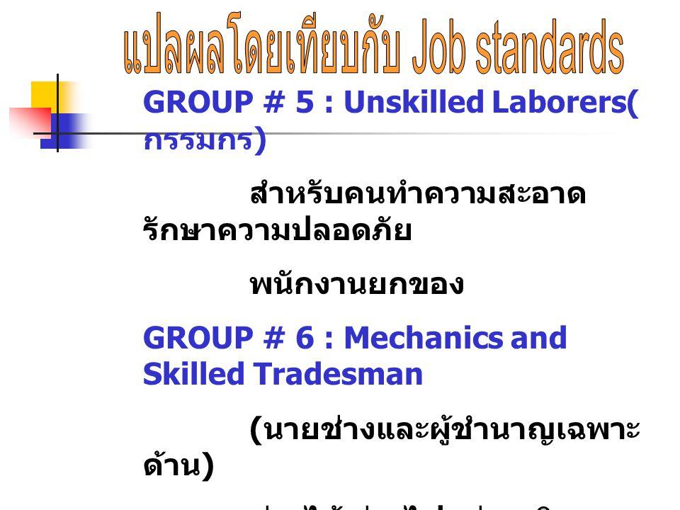 GROUP # 5 : Unskilled Laborers( กรรมกร ) สำหรับคนทำความสะอาด รักษาความปลอดภัย พนักงานยกของ GROUP # 6 : Mechanics and Skilled Tradesman ( นายช่างและผู้