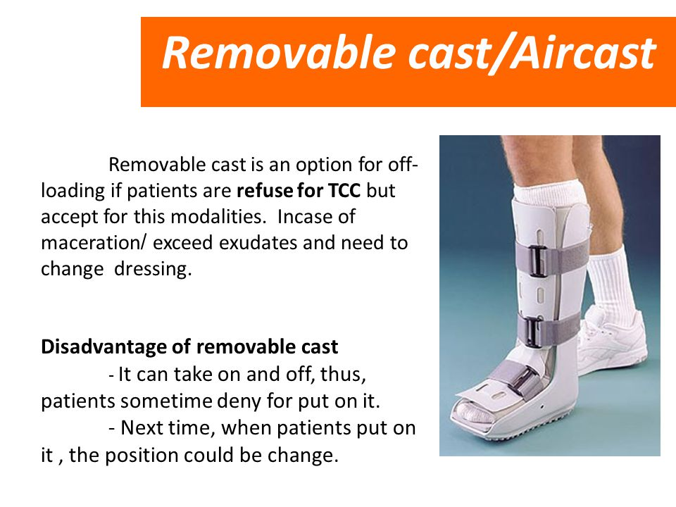 Removable cast is an option for off- loading if patients are refuse for TCC but accept for this modalities. Incase of maceration/ exceed exudates and