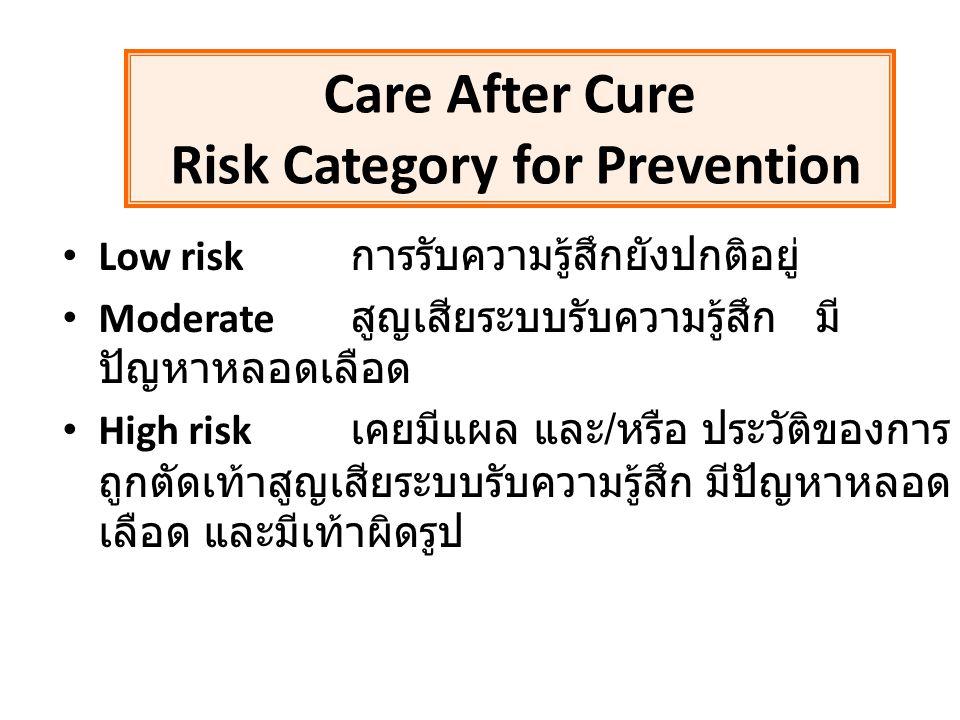 Low risk การรับความรู้สึกยังปกติอยู่ Moderate สูญเสียระบบรับความรู้สึก มี ปัญหาหลอดเลือด High risk เคยมีแผล และ / หรือ ประวัติของการ ถูกตัดเท้าสูญเสีย