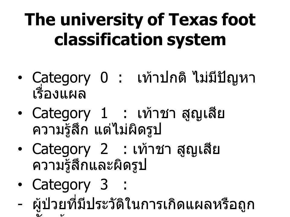 The university of Texas foot classification system Category 0 : เท้าปกติ ไม่มีปัญหา เรื่องแผล Category 1 : เท้าชา สูญเสีย ความรู้สึก แต่ไม่ผิดรูป Cate