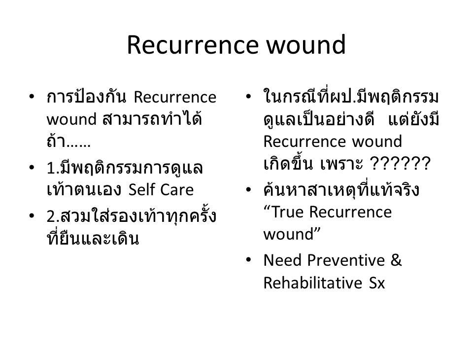 Recurrence wound การป้องกัน Recurrence wound สามารถทำได้ ถ้า …… 1. มีพฤติกรรมการดูแล เท้าตนเอง Self Care 2. สวมใส่รองเท้าทุกครั้ง ที่ยืนและเดิน ในกรณี
