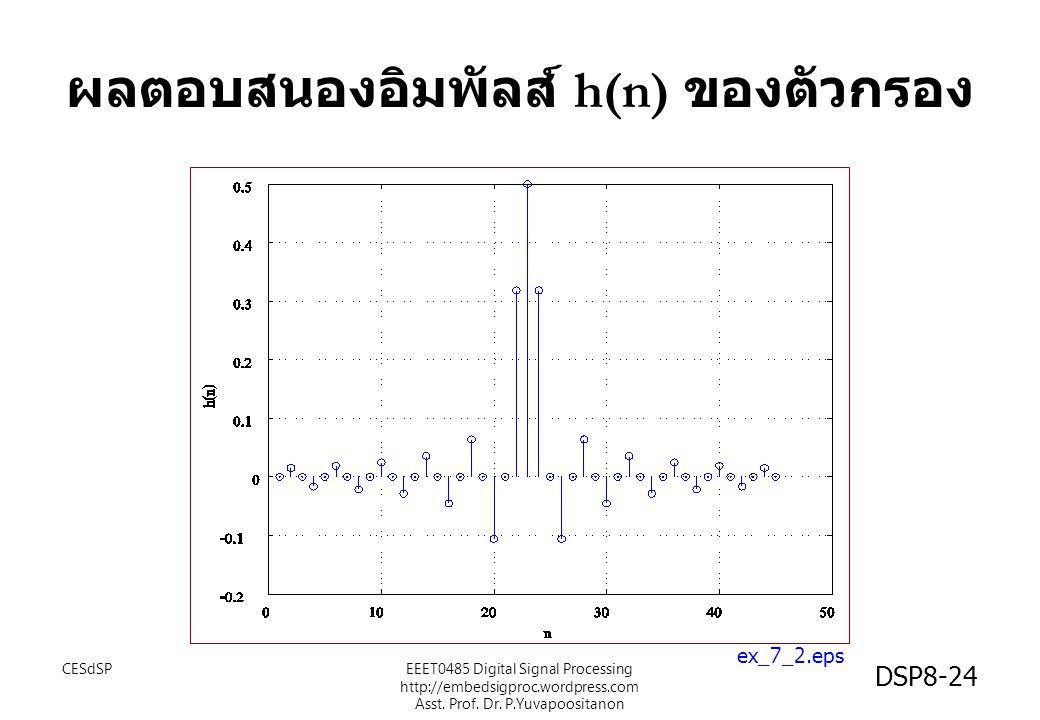 ผลตอบสนองอิมพัลส์ h(n) ของตัวกรอง ex_7_2.eps CESdSPEEET0485 Digital Signal Processing http://embedsigproc.wordpress.com Asst. Prof. Dr. P.Yuvapoositan
