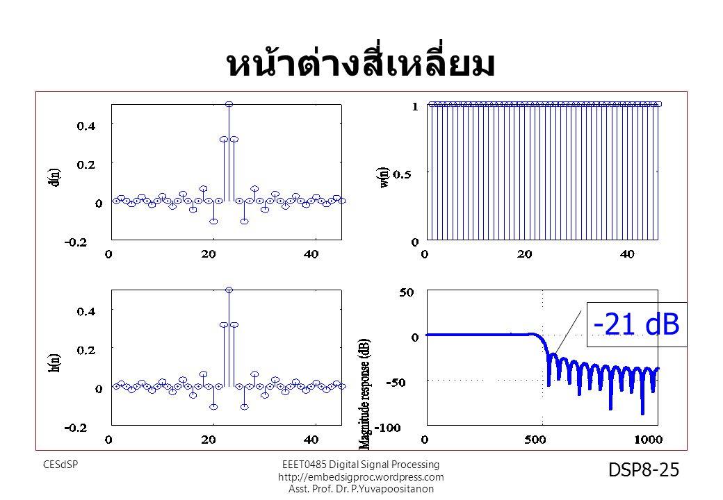 หน้าต่างสี่เหลี่ยม -21 dB CESdSPEEET0485 Digital Signal Processing http://embedsigproc.wordpress.com Asst. Prof. Dr. P.Yuvapoositanon DSP8-25
