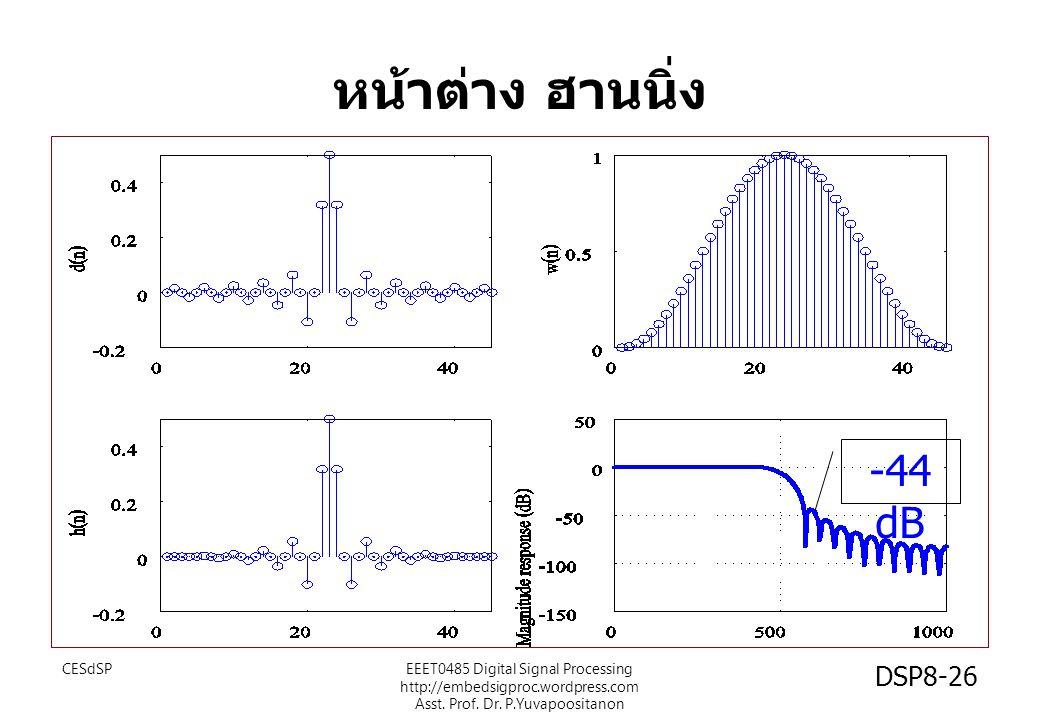 หน้าต่าง ฮานนิ่ง -44 dB CESdSPEEET0485 Digital Signal Processing http://embedsigproc.wordpress.com Asst. Prof. Dr. P.Yuvapoositanon DSP8-26