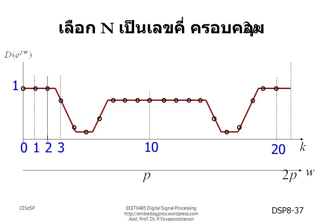 เลือก N เป็นเลขคี่ ครอบคลุม 1 0 1 2 3 20 10 CESdSPEEET0485 Digital Signal Processing http://embedsigproc.wordpress.com Asst. Prof. Dr. P.Yuvapoositano