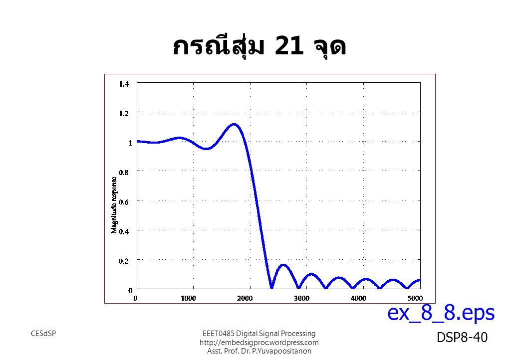 ex_8_8.eps กรณีสุ่ม 21 จุด CESdSPEEET0485 Digital Signal Processing http://embedsigproc.wordpress.com Asst. Prof. Dr. P.Yuvapoositanon DSP8-40