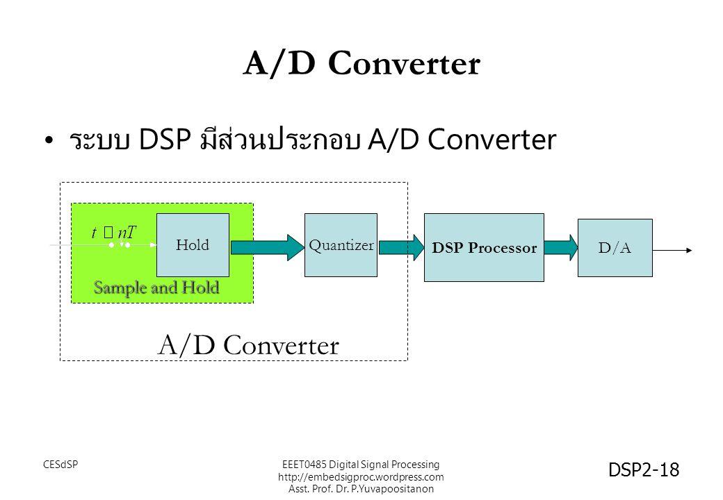 DSP2-18 A/D Converter DSP Processor D/A HoldQuantizer A/D Converter Sample and Hold ระบบ DSP มีส่วนประกอบ A/D Converter EEET0485 Digital Signal Processing http://embedsigproc.wordpress.com Asst.