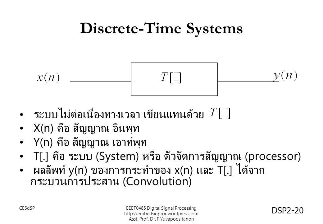 DSP2-20 Discrete-Time Systems ระบบไม่ต่อเนื่องทางเวลา เขียนแทนด้วย X(n) คือ สัญญาณ อินพุท Y(n) คือ สัญญาณ เอาท์พุท T[.] คือ ระบบ (System) หรือ ตัวจัดการสัญญาณ (processor) ผลลัพท์ y(n) ของการกระทำของ x(n) และ T[.] ได้จาก กระบวนการประสาน (Convolution) EEET0485 Digital Signal Processing http://embedsigproc.wordpress.com Asst.