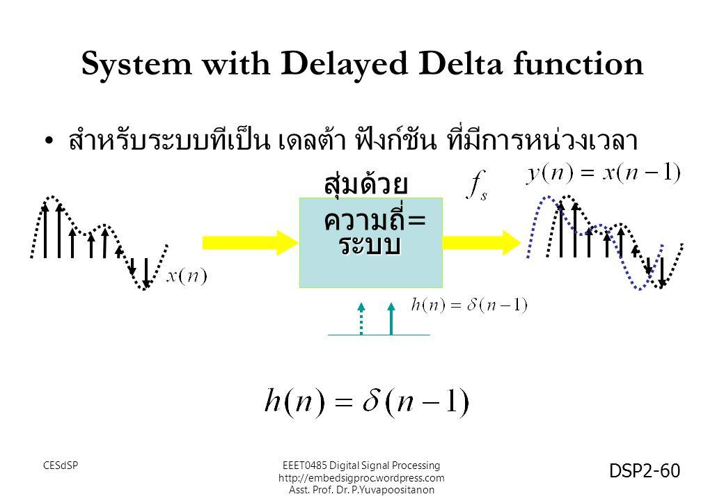 DSP2-60 ระบบ System with Delayed Delta function สำหรับระบบทีเป็น เดลต้า ฟังก์ชัน ที่มีการหน่วงเวลา สุ่มด้วย ความถี่ = EEET0485 Digital Signal Processing http://embedsigproc.wordpress.com Asst.