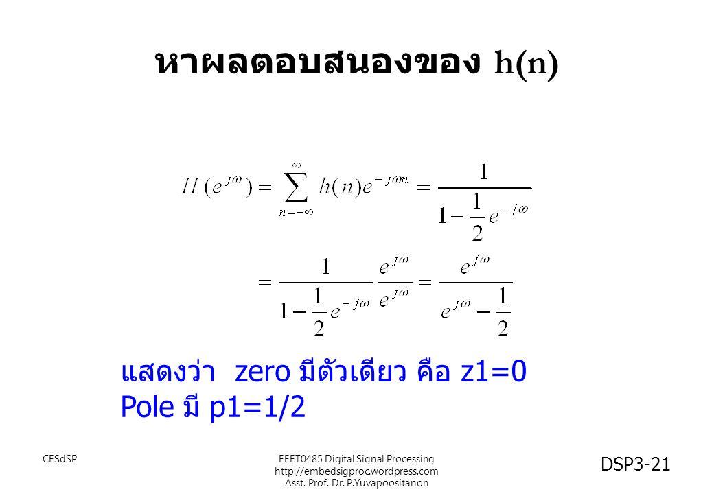 DSP3-21 หาผลตอบสนองของ h(n) แสดงว่า zero มีตัวเดียว คือ z1=0 Pole มี p1=1/2 EEET0485 Digital Signal Processing http://embedsigproc.wordpress.com Asst.