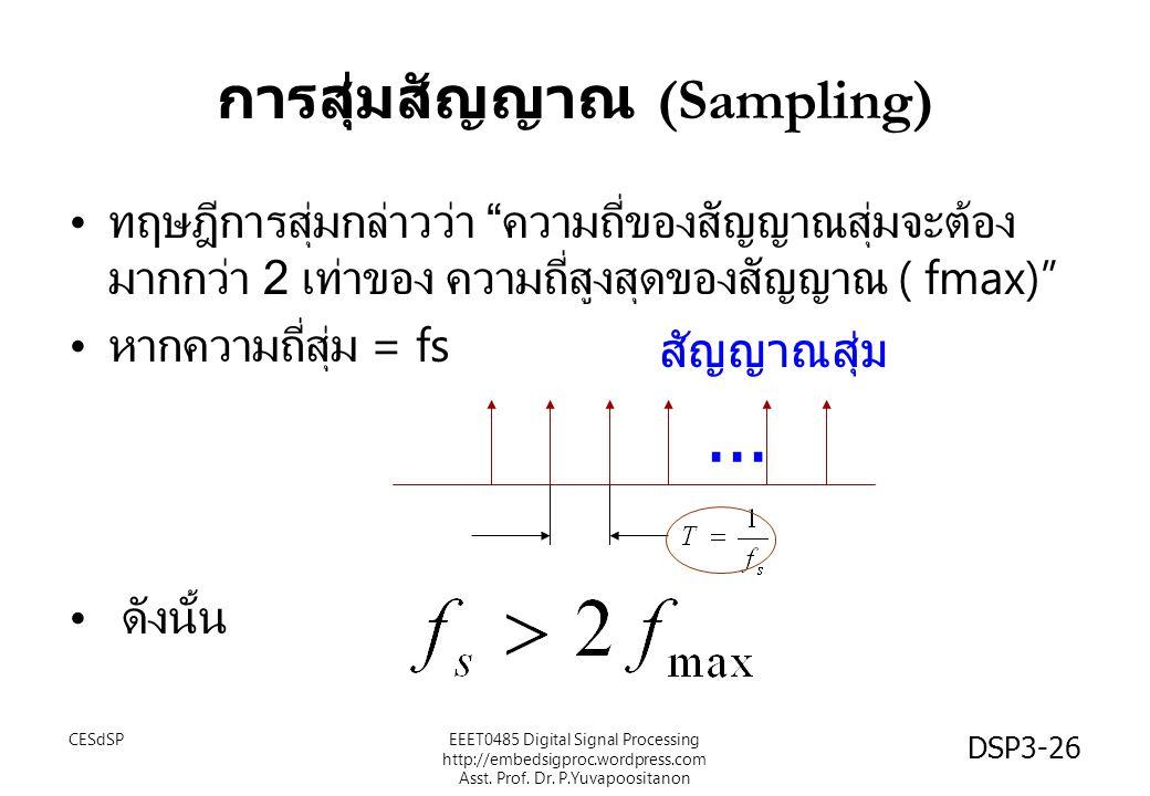 """DSP3-26 การสุ่มสัญญาณ (Sampling) ทฤษฎีการสุ่มกล่าวว่า """" ความถี่ของสัญญาณสุ่มจะต้อง มากกว่า 2 เท่าของ ความถี่สูงสุดของสัญญาณ ( fmax)"""" หากความถี่สุ่ม ="""