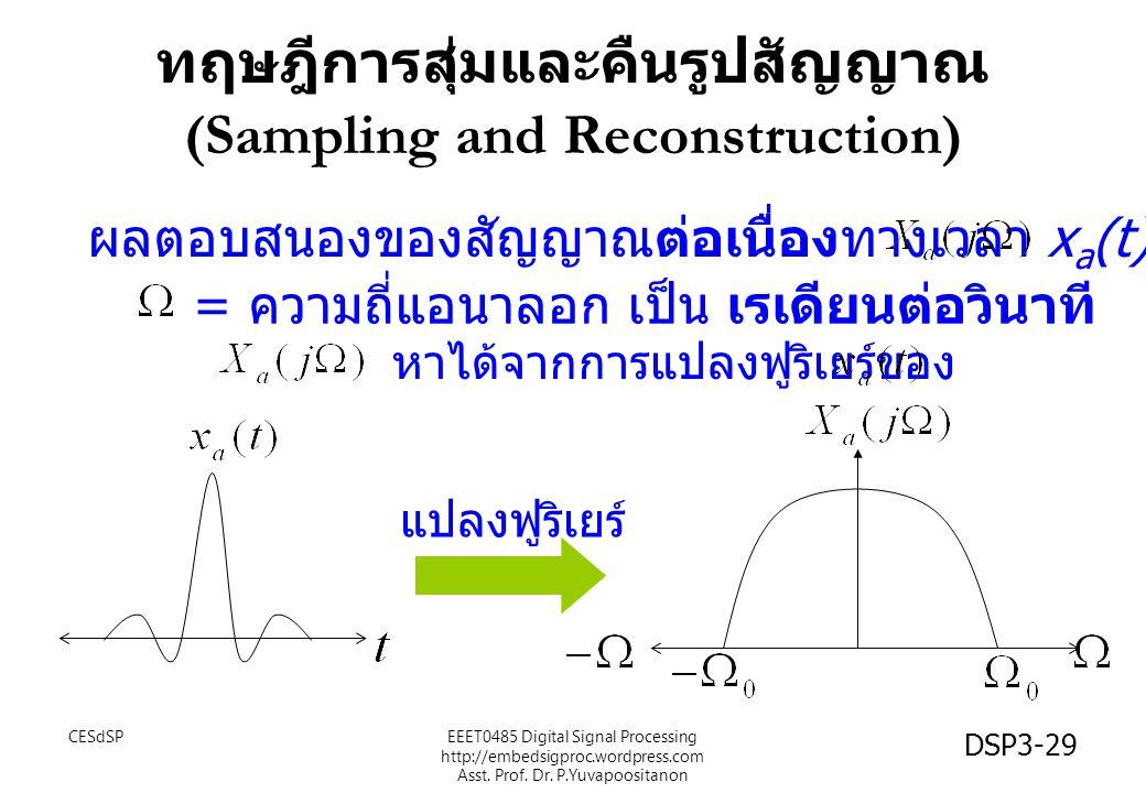 DSP3-29 ทฤษฎีการสุ่มและคืนรูปสัญญาณ (Sampling and Reconstruction) แปลงฟูริเยร์ ผลตอบสนองของสัญญาณต่อเนื่องทางเวลา x a (t) คือ = ความถี่แอนาลอก เป็น เร