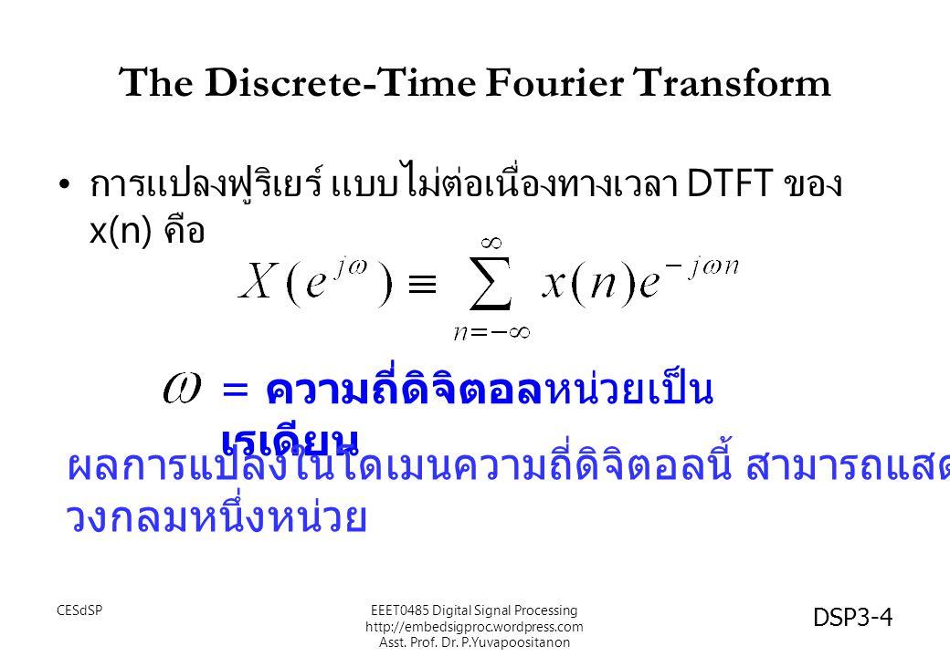 DSP3-4 The Discrete-Time Fourier Transform การแปลงฟูริเยร์ แบบไม่ต่อเนื่องทางเวลา DTFT ของ x(n) คือ = ความถี่ดิจิตอลหน่วยเป็น เรเดียน ผลการแปลงในโดเมน