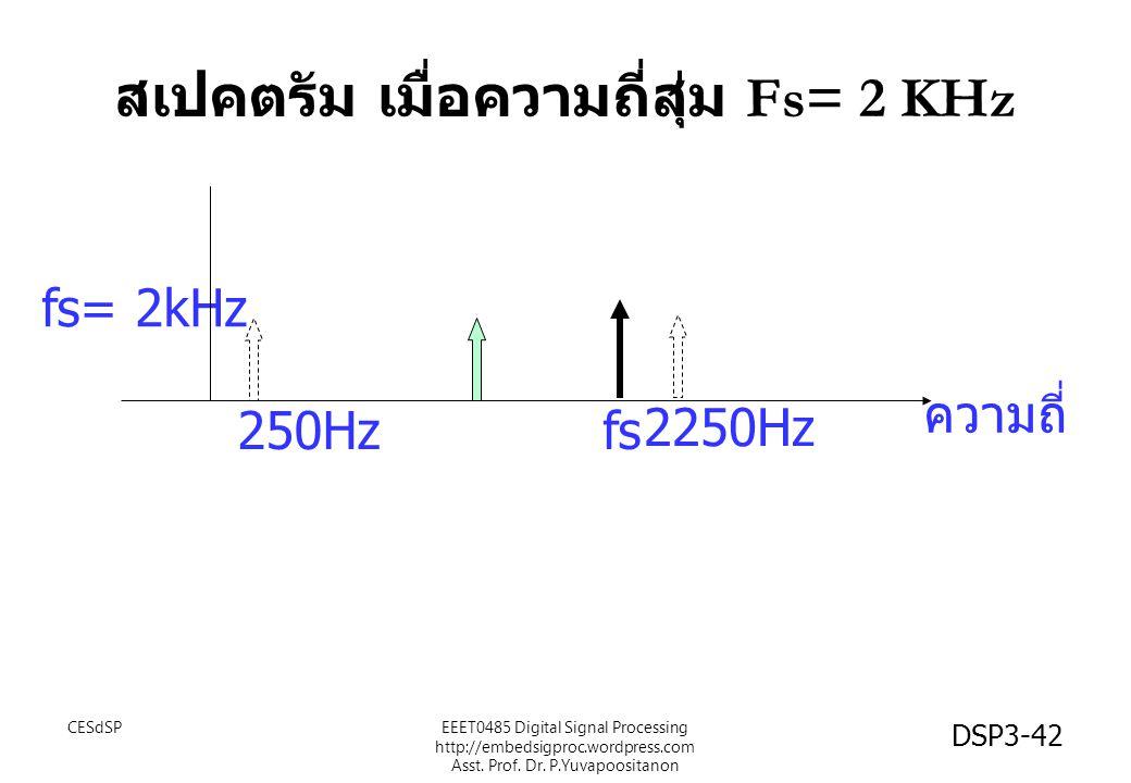 DSP3-42 สเปคตรัม เมื่อความถี่สุ่ม Fs= 2 KHz fs= 2kHz fs ความถี่ 250Hz 2250Hz EEET0485 Digital Signal Processing http://embedsigproc.wordpress.com Asst