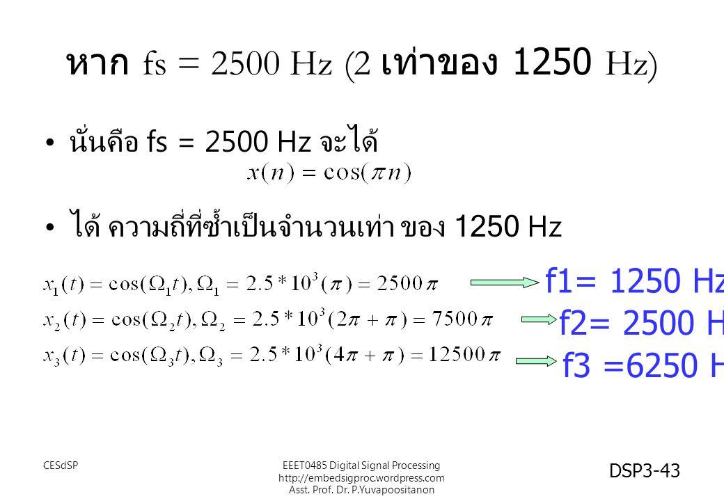 DSP3-43 หาก fs = 2500 Hz (2 เท่าของ 1250 Hz) นั่นคือ fs = 2500 Hz จะได้ ได้ ความถี่ที่ซ้ำเป็นจำนวนเท่า ของ 1250 Hz f1= 1250 Hz f2= 2500 Hz f3 =6250 Hz