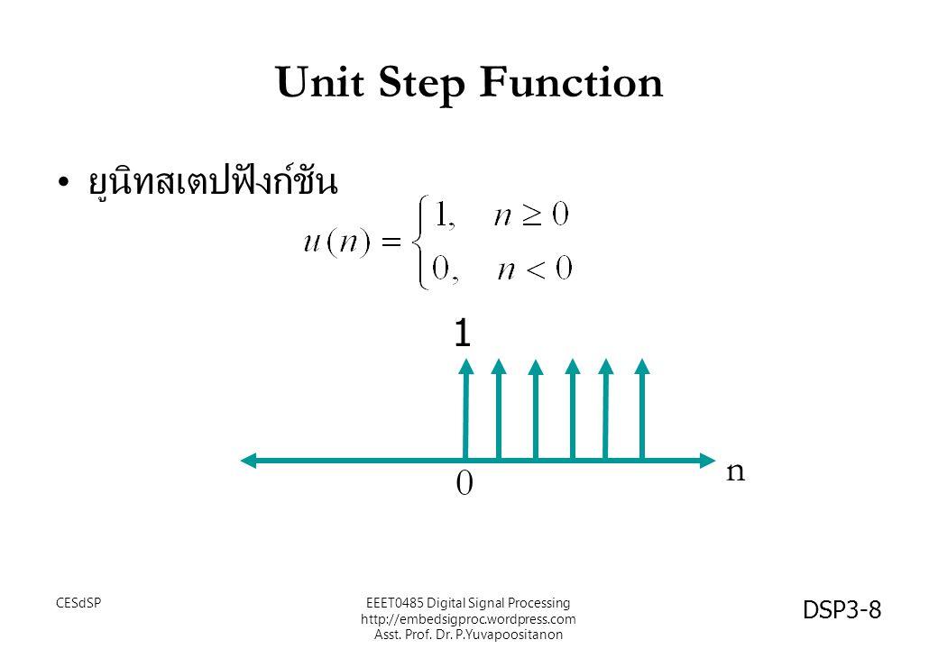 DSP3-8 Unit Step Function ยูนิทสเตปฟังก์ชัน n 0 1 EEET0485 Digital Signal Processing http://embedsigproc.wordpress.com Asst. Prof. Dr. P.Yuvapoositano