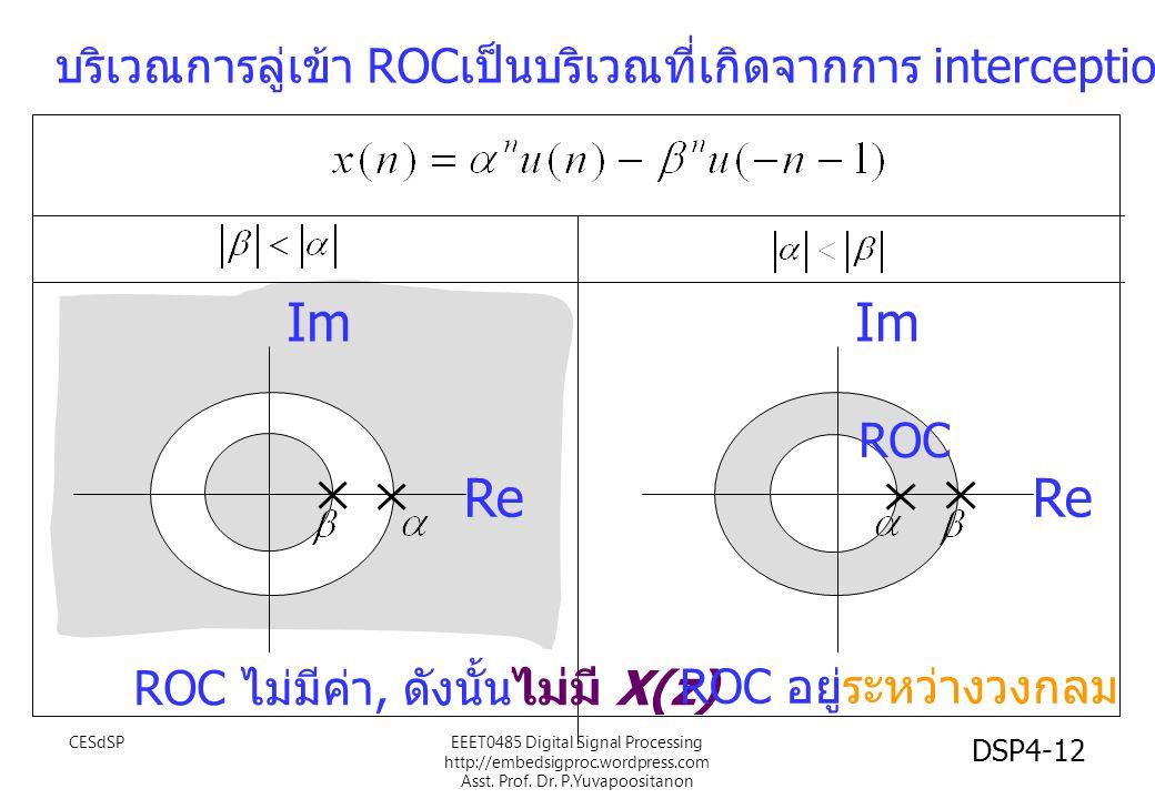 บริเวณการลู่เข้า ROC เป็นบริเวณที่เกิดจากการ interception ของ ROC ทั้งสอง Im Re Im Re ROC ROC ไม่มีค่า, ดังนั้นไม่มี X(z) ROC อยู่ระหว่างวงกลม EEET0485 Digital Signal Processing http://embedsigproc.wordpress.com Asst.