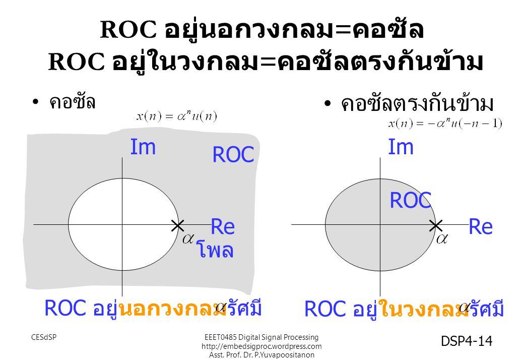 ROC อยู่นอกวงกลม = คอซัล ROC อยู่ในวงกลม = คอซัลตรงกันข้าม คอซัล คอซัลตรงกันข้าม Im Re Im Re ROC ROC อยู่นอกวงกลมรัศมี ROC อยู่ในวงกลมรัศมี โพล EEET0485 Digital Signal Processing http://embedsigproc.wordpress.com Asst.