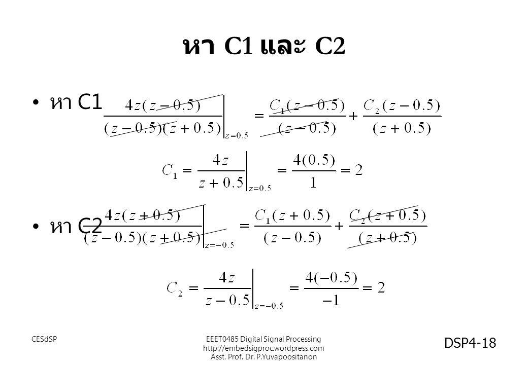หา C1 และ C2 หา C1 หา C2 EEET0485 Digital Signal Processing http://embedsigproc.wordpress.com Asst.