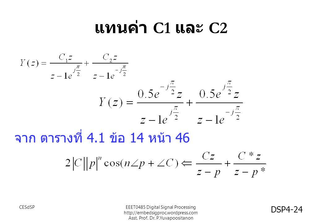 แทนค่า C1 และ C2 จาก ตารางที่ 4.1 ข้อ 14 หน้า 46 EEET0485 Digital Signal Processing http://embedsigproc.wordpress.com Asst.