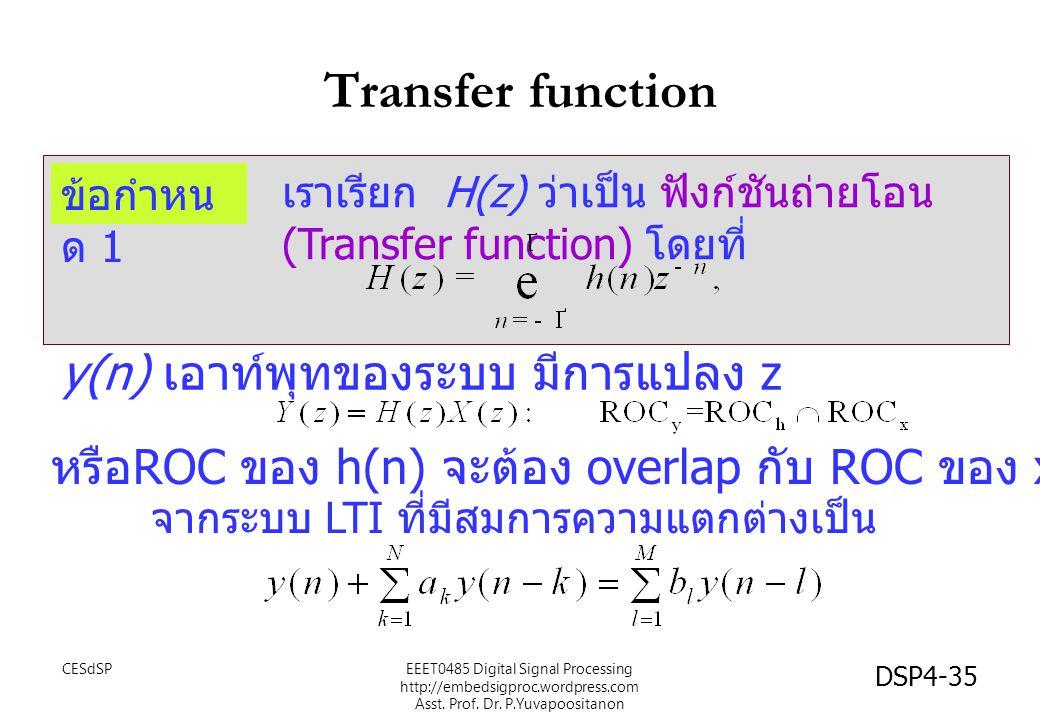 Transfer function CESdSPEEET0485 Digital Signal Processing http://embedsigproc.wordpress.com Asst.
