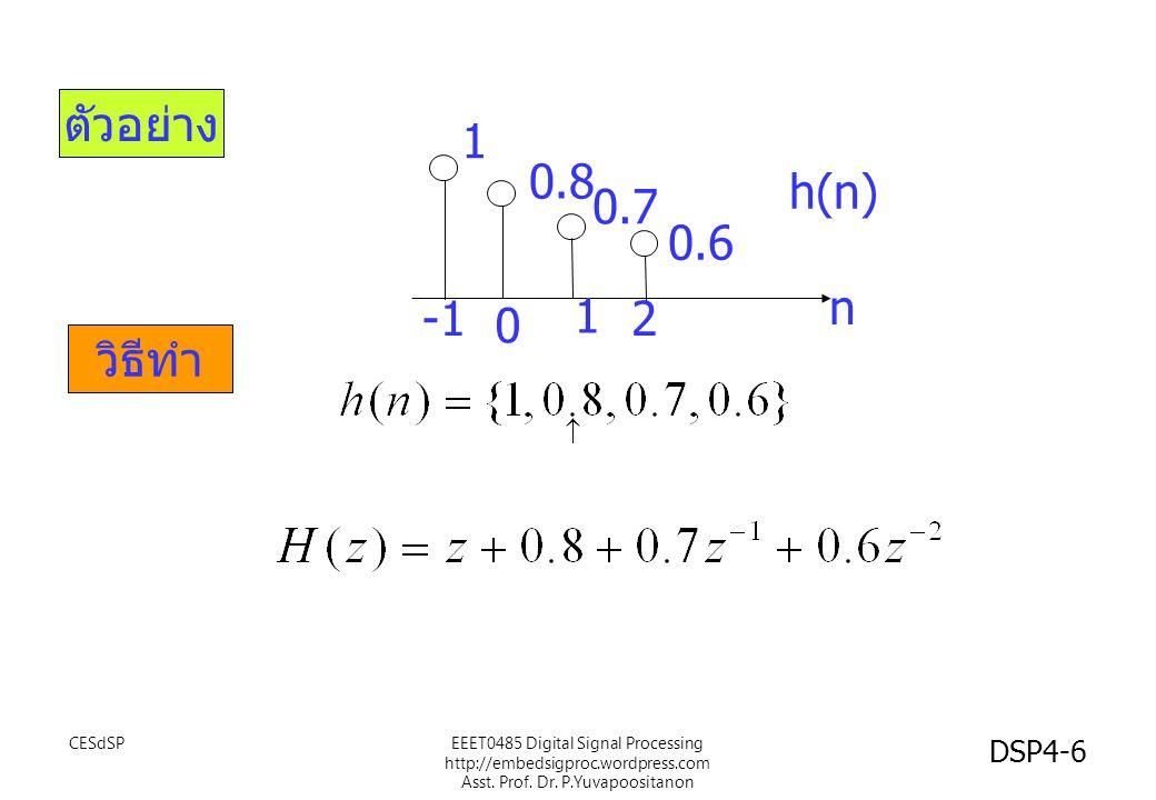 ตัวอย่าง วิธีทำ 1 0.8 0.7 0.6 n 0 2 1 h(n) EEET0485 Digital Signal Processing http://embedsigproc.wordpress.com Asst.