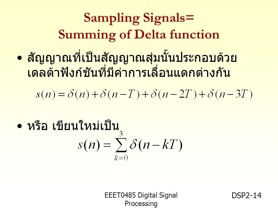 EEET0485 Digital Signal Processing Asst.Prof. Peerapol Yuvapoositanon DSP2-14 Sampling Signals= Summing of Delta function สัญญาณที่เป็นสัญญาณสุ่มนั้นป