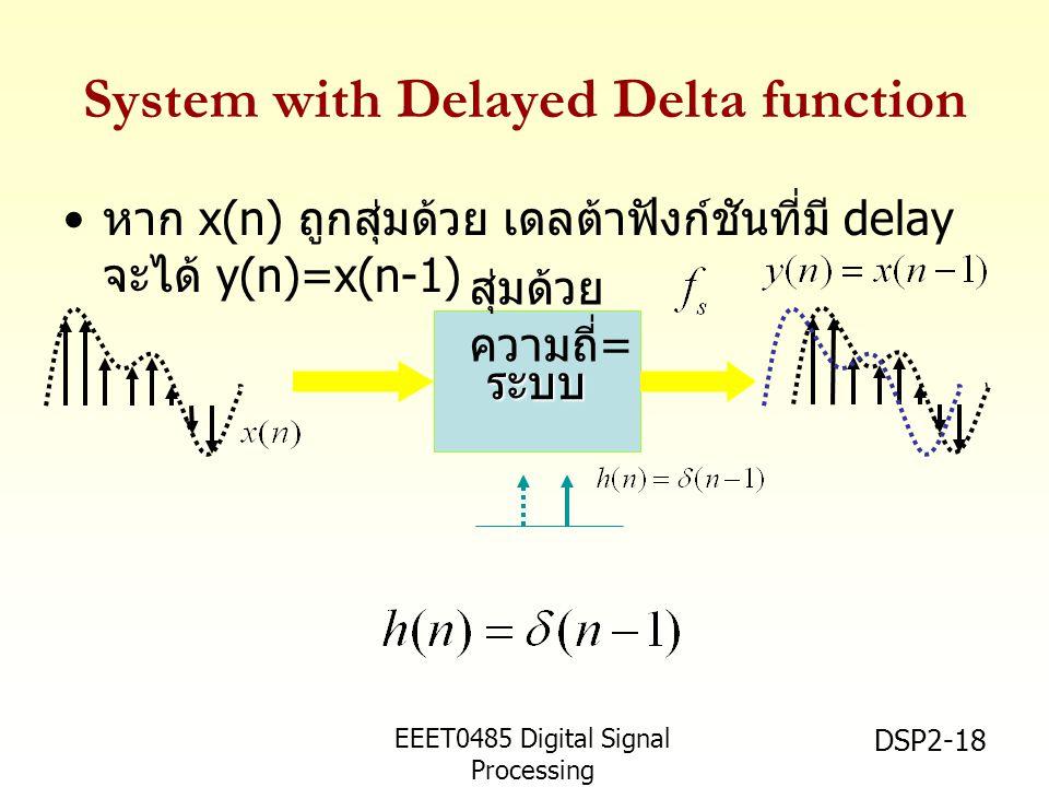 EEET0485 Digital Signal Processing Asst.Prof. Peerapol Yuvapoositanon DSP2-18 ระบบ System with Delayed Delta function หาก x(n) ถูกสุ่มด้วย เดลต้าฟังก์