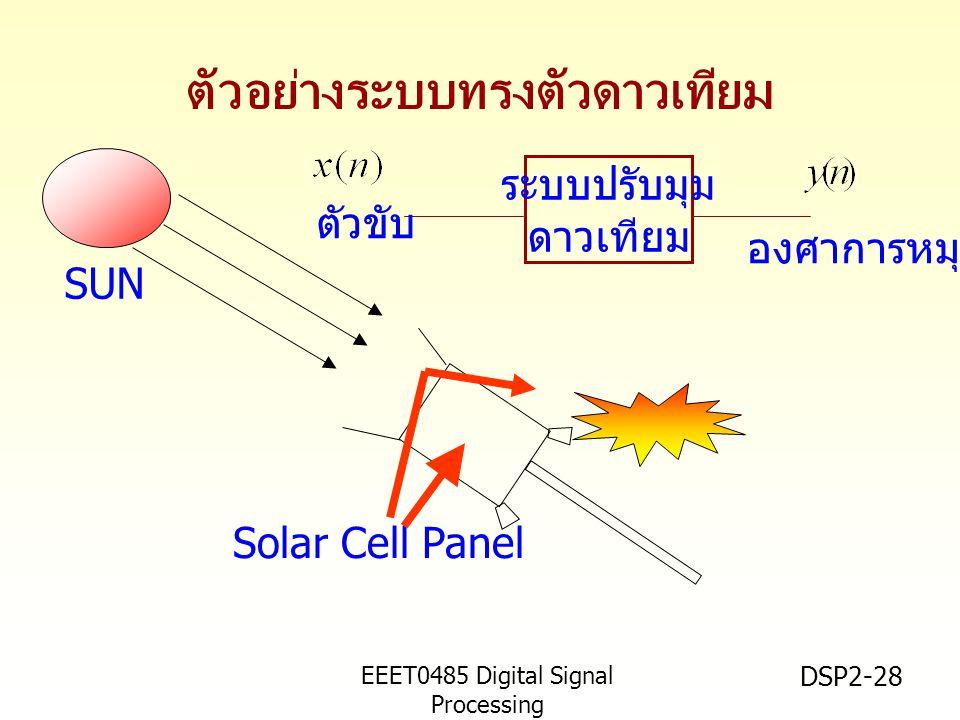 EEET0485 Digital Signal Processing Asst.Prof. Peerapol Yuvapoositanon DSP2-28 ระบบปรับมุม ดาวเทียม ตัวขับ องศาการหมุน ตัวอย่างระบบทรงตัวดาวเทียม Solar