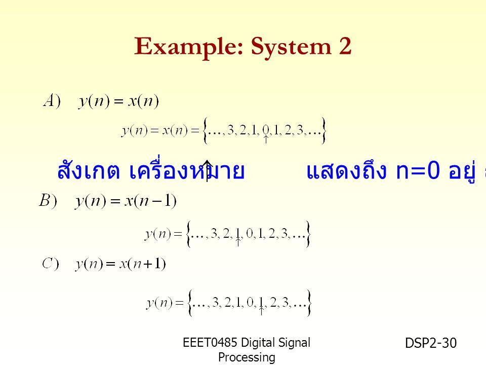 EEET0485 Digital Signal Processing Asst.Prof. Peerapol Yuvapoositanon DSP2-30 Example: System 2 สังเกต เครื่องหมาย แสดงถึง n=0 อยู่ ณ ตำแหน่งนั้น