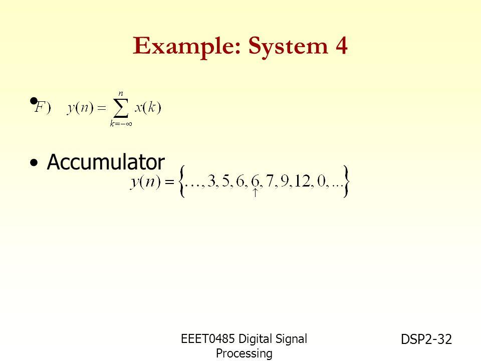EEET0485 Digital Signal Processing Asst.Prof. Peerapol Yuvapoositanon DSP2-32 Example: System 4 Accumulator