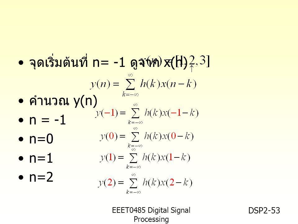 EEET0485 Digital Signal Processing Asst.Prof. Peerapol Yuvapoositanon DSP2-53 จุดเริ่มต้นที่ n= -1 ดูจาก x(n) คำนวณ y(n) n = -1 n=0 n=1 n=2