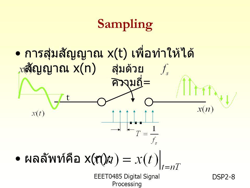 EEET0485 Digital Signal Processing Asst.Prof. Peerapol Yuvapoositanon DSP2-8 Sampling การสุ่มสัญญาณ x(t) เพื่อทำให้ได้ สัญญาณ x(n) ผลลัพท์คือ x(n): สุ