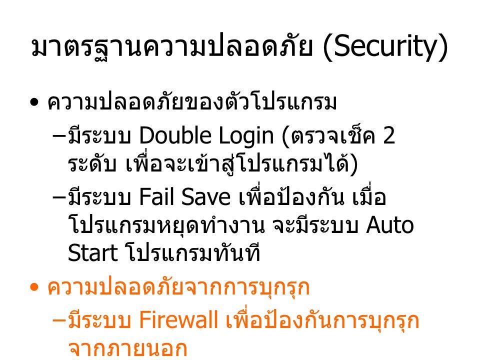 มาตรฐานความปลอดภัย (Security) ความปลอดภัยของตัวโปรแกรม –มีระบบ Double Login (ตรวจเช็ค 2 ระดับ เพื่อจะเข้าสู่โปรแกรมได้) –มีระบบ Fail Save เพื่อป้องกัน