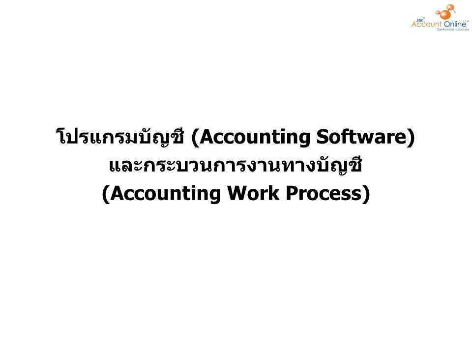 โปรแกรมบัญชี (Accounting Software) คือ โปรแกรมที่พัฒนาขึ้นมาเพื่อใช้กับงานด้านบัญชี โดยเฉพาะ มีหน้าที่บันทึก ประมวลผล และเสนอรายงาน เกี่ยวกับรายการค้าที่เกิดขึ้น โดยเริ่มตั้งแต่การลงบัญชีใน สมุดรายวันทั่วไป การผ่านรายการไปสมุดบัญชีแยก ประเภท และสรุปผลรายการค้าออกมาในรูปของงบ การเงิน ในปัจจุบันโปรแกรมทางการบัญชีมักเป็นส่วน หนึ่งของโปรแกรมประเภท ERP packageERP package เป็นโปรแกรมที่ทุกธุรกิจจะต้องมี เนื่องจากโปรแกรม บัญชีเป็นโปรแกรมพื้นฐานของบริษัทเพื่อดูกำไรขาดทุน และ ผลประกอบการ โปรแกรมบัญชี