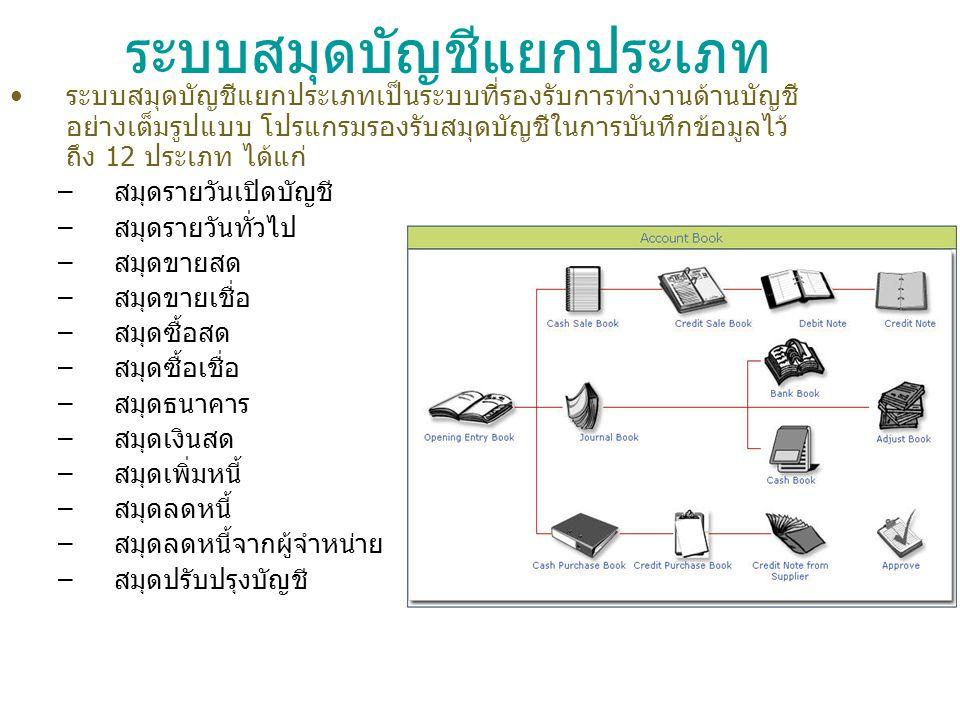 ระบบสมุดบัญชีแยกประเภท ระบบสมุดบัญชีแยกประเภทเป็นระบบที่รองรับการทำงานด้านบัญชี อย่างเต็มรูปแบบ โปรแกรมรองรับสมุดบัญชีในการบันทึกข้อมูลไว้ ถึง 12 ประเ
