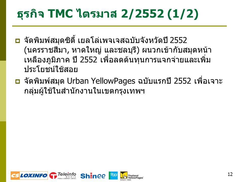 12 ธุรกิจ TMC ไตรมาส 2/2552 (1/2)  จัดพิมพ์สมุดซิตี้ เยลโล่เพจเจสฉบับจังหวัดปี 2552 (นครราชสีมา, หาดใหญ่ และชลบุรี) ผนวกเข้ากับสมุดหน้า เหลืองภูมิภาค ปี 2552 เพื่อลดต้นทุนการแจกจ่ายและเพิ่ม ประโยชน์ใช้สอย  จัดพิมพ์สมุด Urban YellowPages ฉบับแรกปี 2552 เพื่อเจาะ กลุ่มผู้ใช้ในสำนักงานในเขตกรุงเทพฯ