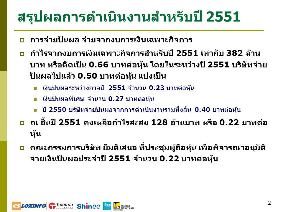 3 สรุปผลการดำเนินงานสำหรับปี 2551  รายได้ในปี 2551 เท่ากับ 2,664 ล้าน บาท เพิ่มขึ้นร้อยละ 3 จากปีก่อน  กำไรจากการดำเนินงาน ( ไม่รวม รายการพิเศษ ) สำหรับปี 2551 เท่ากับ 279 ล้านบาท ลดลงร้อยละ 8 จากปีก่อน (ISP = -3 MB, YP = -11 MB, Shinee = -16 MB, WATTA = +7 MB)