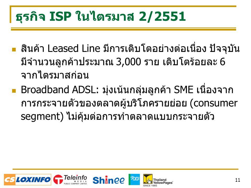 11 ธุรกิจ ISP ในไตรมาส 2/2551 สินค้า Leased Line มีการเติบโตอย่างต่อเนื่อง ปัจจุบัน มีจำนวนลูกค้าประมาณ 3,000 ราย เติบโตร้อยละ 6 จากไตรมาสก่อน Broadband ADSL: มุ่งเน้นกลุ่มลูกค้า SME เนื่องจาก การกระจายตัวของตลาดผู้บริโภครายย่อย (consumer segment) ไม่คุ้มต่อการทำตลาดแบบกระจายตัว