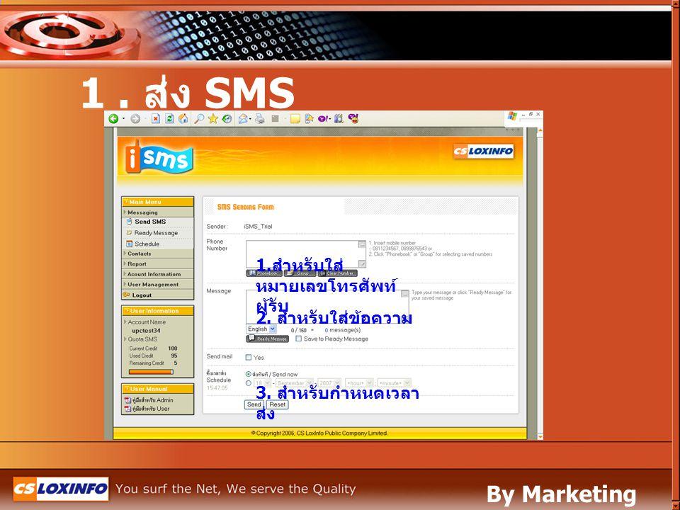 1. สำหรับใส่ หมายเลขโทรศัพท์ ผู้รับ 2. สำหรับใส่ข้อความ 3. สำหรับกำหนดเวลา ส่ง 1. ส่ง SMS By Marketing Leased Line